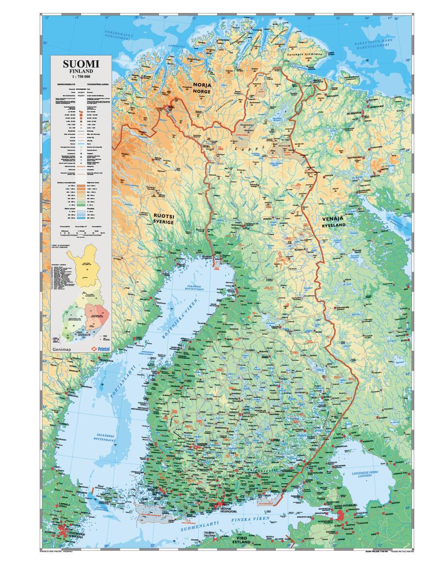 Suomen Kartta Riiputettava Lekolar Suomi