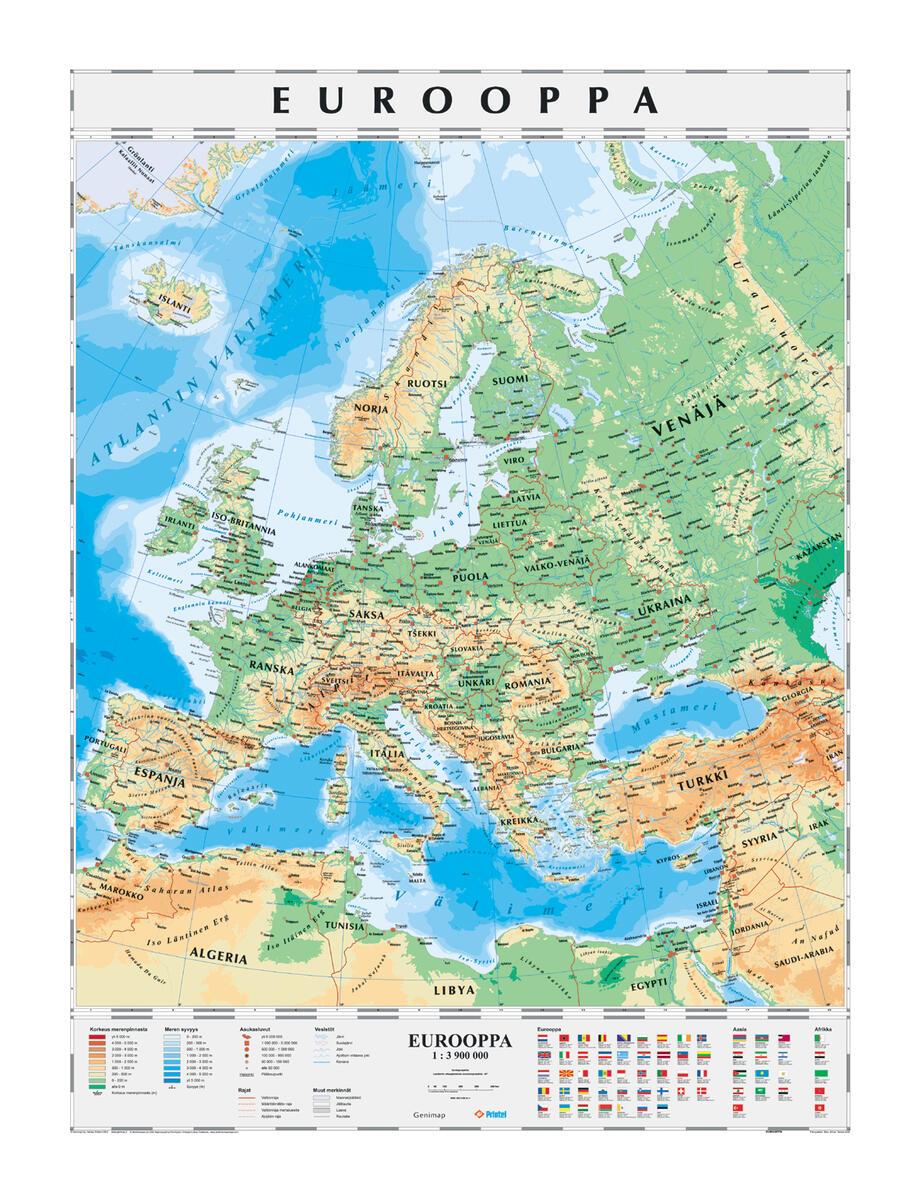 Euroopan Kartta Liukuvaunussa Lekolar Suomi