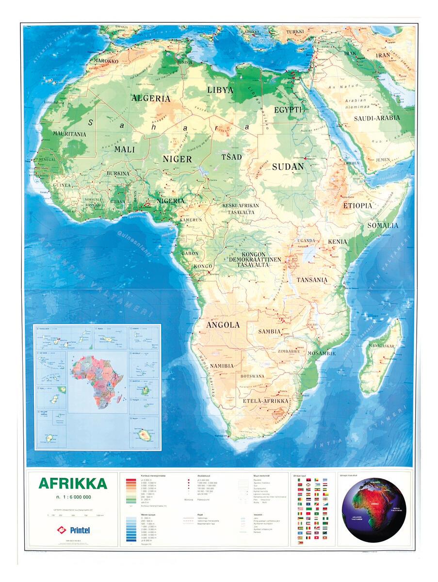 Afrikan Kartta Riiputettava Lekolar Suomi